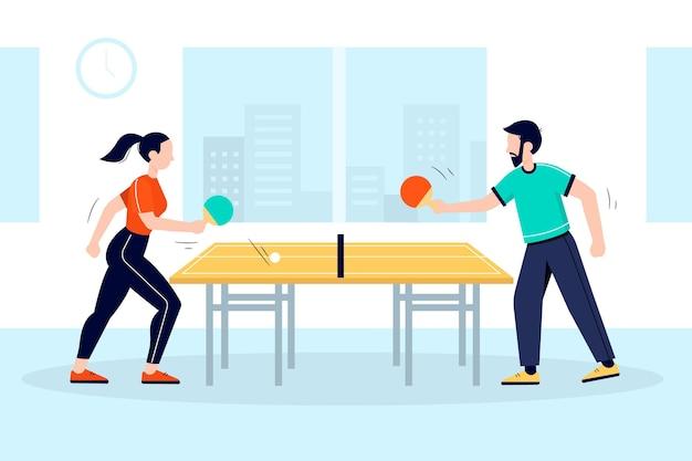 Pessoas jogando tênis de mesa juntas