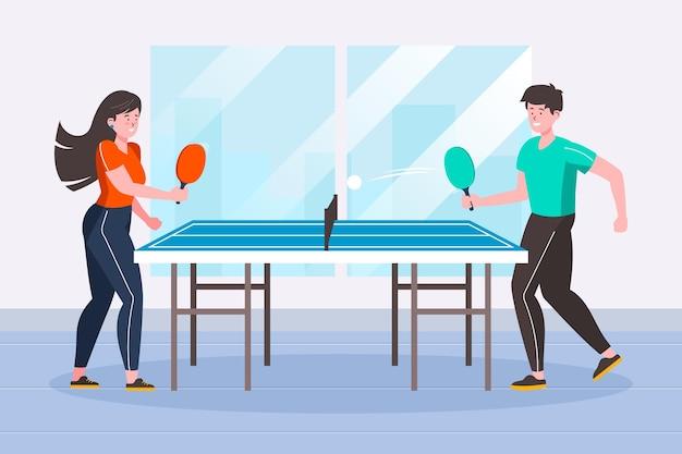 Pessoas jogando tênis de mesa