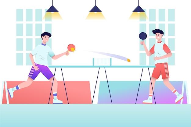 Pessoas jogando tênis dentro de casa