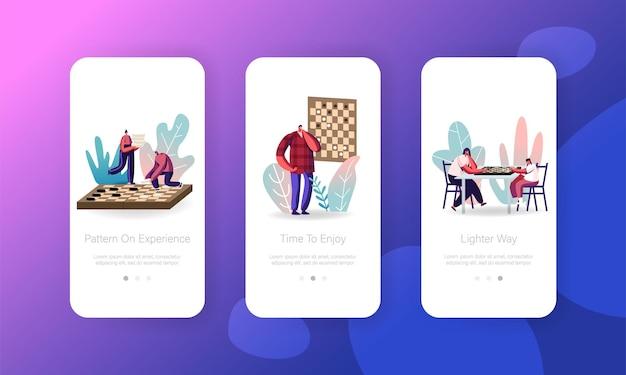 Pessoas jogando xadrez modelo de tela de página de aplicativo móvel.