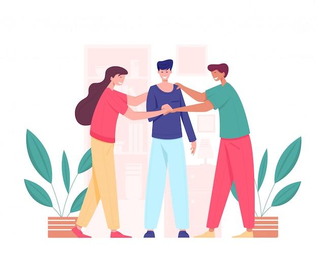 Pessoas juntando as mãos