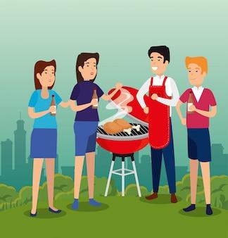 Pessoas juntas ao redor do churrasco