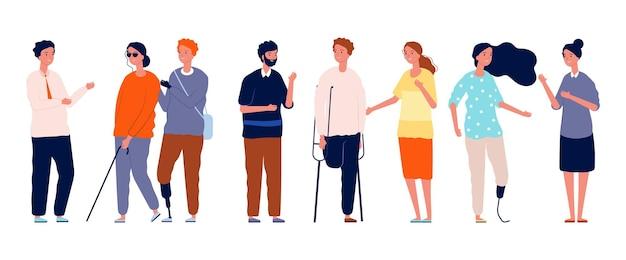 Pessoas juntas. diferentes personagens de pessoas, socialização de homem-mulher com deficiência. conceito de vetor de amigos de multidão. ilustração de deficiência e sociedade com deficiência