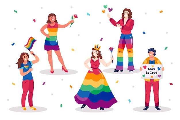 Pessoas juntas no conceito do dia do orgulho