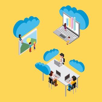 Pessoas laptop trabalhando mesa computação em nuvem armazenamento isométrico