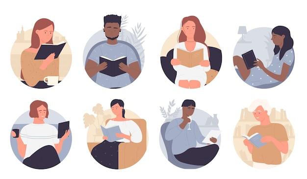 Pessoas lêem conjunto de ilustração