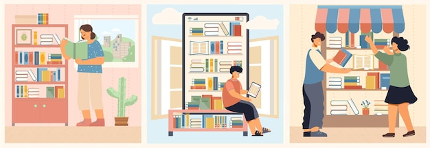Pessoas lendo conjunto de ilustrações