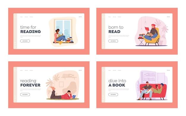 Pessoas lendo em casa, modelo de página de destino do sparetime de educação