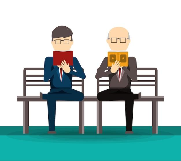 Pessoas lendo livro e jornal