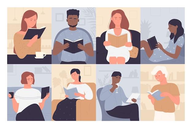 Pessoas lendo livro na biblioteca ou livraria
