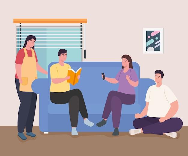 Pessoas lendo livro no sofá em casa design de atividade e lazer