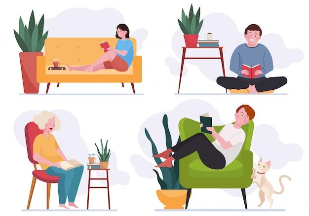 Pessoas lendo livros em casa