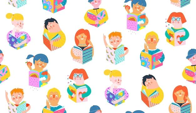 Pessoas lendo livros, padrão colorido sem emenda.