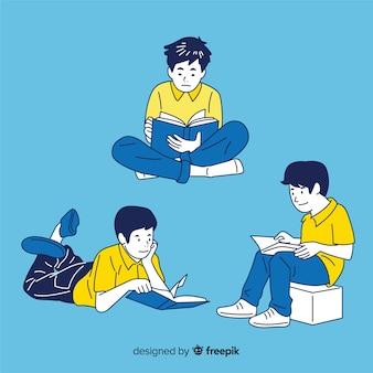 Pessoas lendo no estilo de desenho coreano