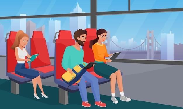 Pessoas lendo no ônibus de transporte público usando ilustração de leitor eletrônico