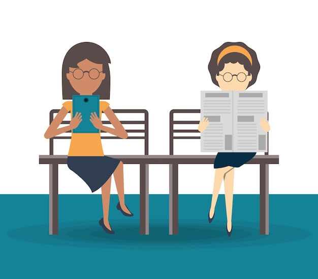 Pessoas lendo o vetor de ícone de livro e newspape