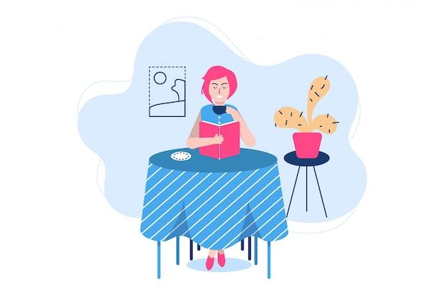 Pessoas lendo poses ilustração, personagem de desenho animado estudante mulher estudando e se preparando para o exame em branco