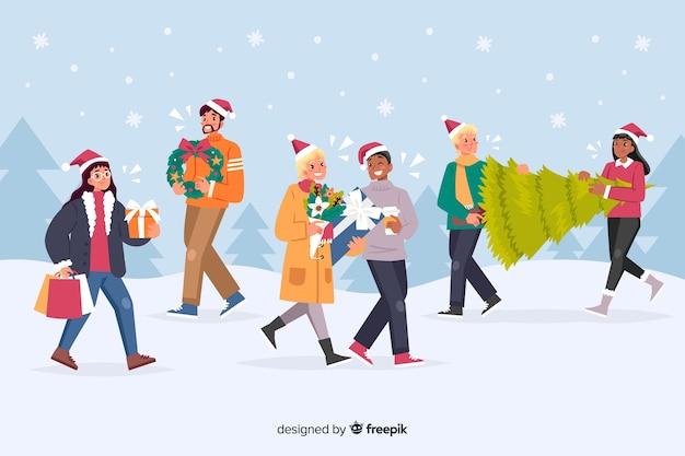 Pessoas levando presentes para desenhos animados de festa de natal