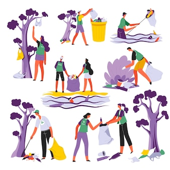 Pessoas limpando locais naturais, recolhendo lixo