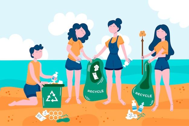 Pessoas limpando os oceanos no verão