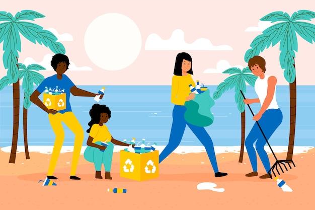 Pessoas limpando praia de areia