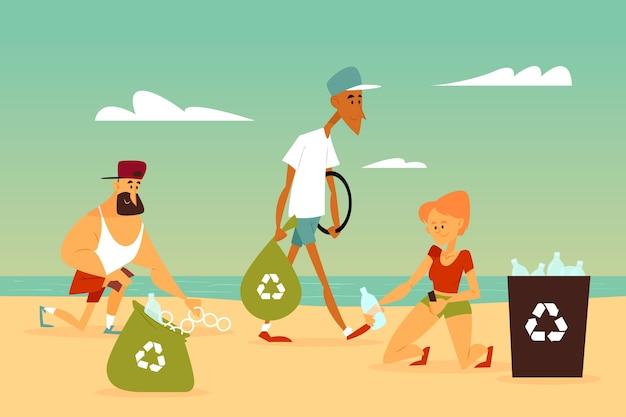 Pessoas limpando praia de lixo