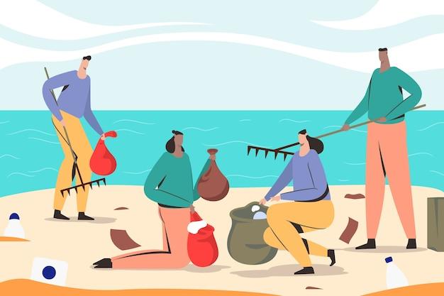 Pessoas limpando praia e reutilizando o lixo