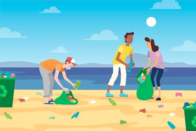 Pessoas limpando resíduos na praia
