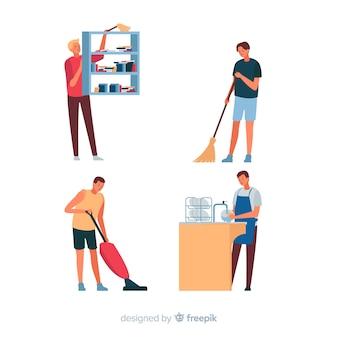 Pessoas limpando sua casa