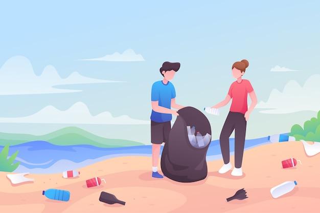 Pessoas limpando uma praia juntos