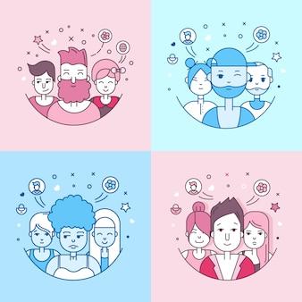 Pessoas lineares linear enfrenta o conjunto de ícones. avatar de mídia social, userpic e perfis.