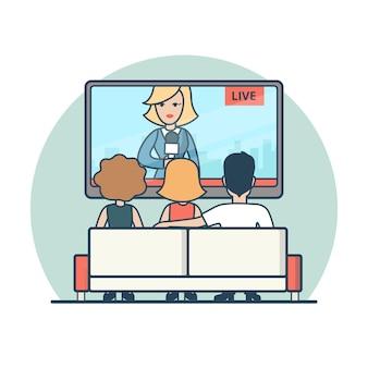 Pessoas lineares planas assistindo notícias na ilustração de tv. conceito de mídia de transmissão de notícias ao vivo.