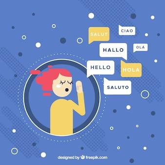 Pessoas línguas diferentes com design plano