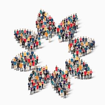 Pessoas lotadas criando um formulário. grupo de ponto de multidão formando uma forma predeterminada.