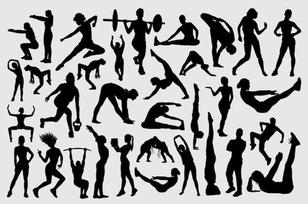 Pessoas, macho fêmea, treinamento, fitnes, silueta