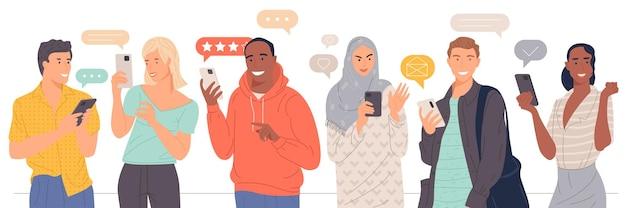 Pessoas mandando mensagens de texto, falando, ouvindo música, tirando uma selfie