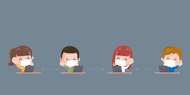 Pessoas mantêm distância trabalhando na mesa. novo personagem de estilo de vida normal. proteção contra o vírus covid-19.