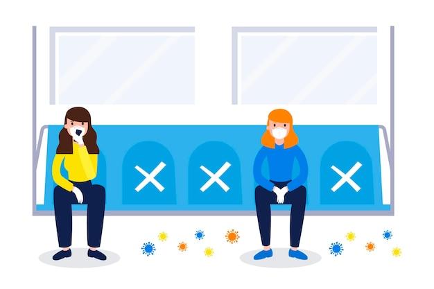 Pessoas mantendo distância social em espaços públicos