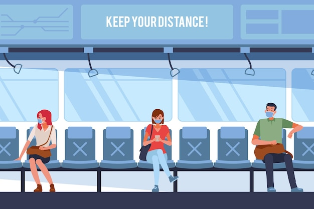 Pessoas mantendo distância social em transporte público