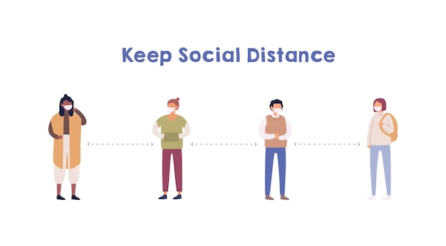 Pessoas mantendo distância social