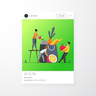Pessoas mantendo uma dieta saudável. homem e mulher embalando o saco de papel com frutas e vegetais frescos. ilustração vetorial para o conceito de nutrição orgânica, nutricionista, vegan ou vegetariana Vetor grátis