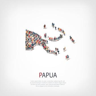 Pessoas, mapa da papua-nova guiné. multidão formando um país.