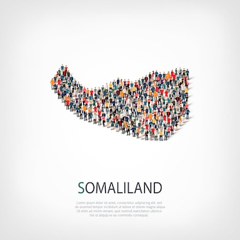 Pessoas, mapa da somalilândia. multidão formando um país.