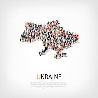 Pessoas, mapa da ucrânia. multidão formando um país.