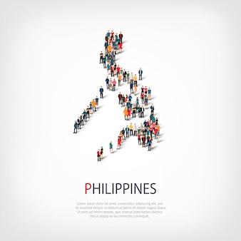 Pessoas, mapa das filipinas. multidão formando um país.