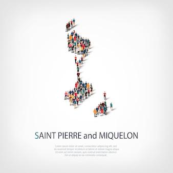 Pessoas, mapa de saint pierre. multidão formando um país.