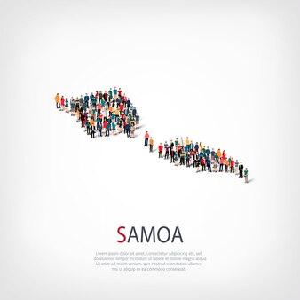 Pessoas, mapa de samoa. multidão formando um país.