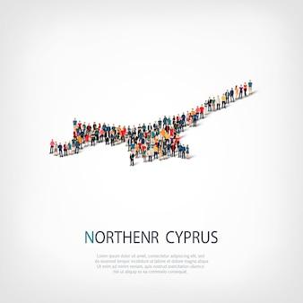 Pessoas, mapa do norte de chipre. multidão formando um país.