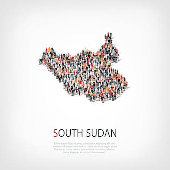 Pessoas, mapa do sudão do sul. multidão formando um país.