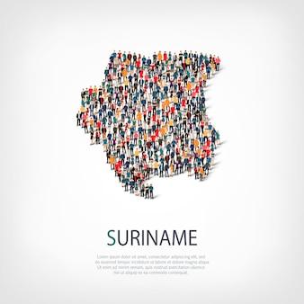 Pessoas, mapa do suriname. multidão formando um país.